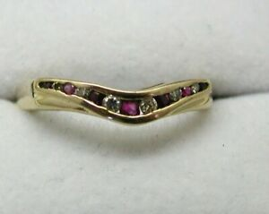 9-carat-Gold-Ruby-And-Diamond-Shaped-Half-Eternity-Style-Ring-Size-M-1-2
