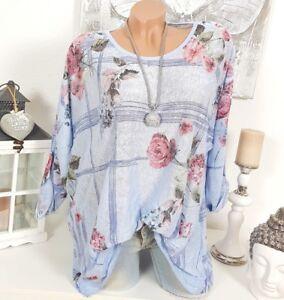 OVERSIZE SHIRT VINTAGE TUNIKA BLUMEN Weiß Blau PAILLETTEN BLUSE Floral 44 46 48