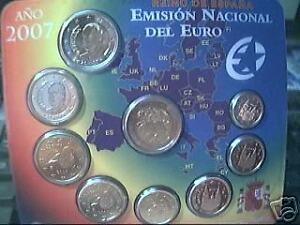 2007 Div. Spagna 9 Monete Euro Espagne Spanien Roma Rom