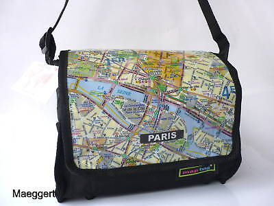 Umhängetasche Schultertasche Messenger Bag Tasche mit Aufdruck Stadtplan Paris