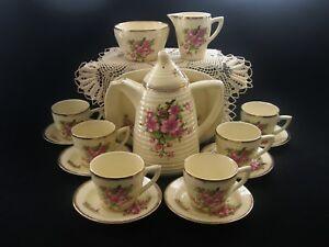 Rare-CLARICE-CLIFF-COFFEE-SET-Vintage-Art-Deco-China-16-Piece-Lynton-Bee-Hive