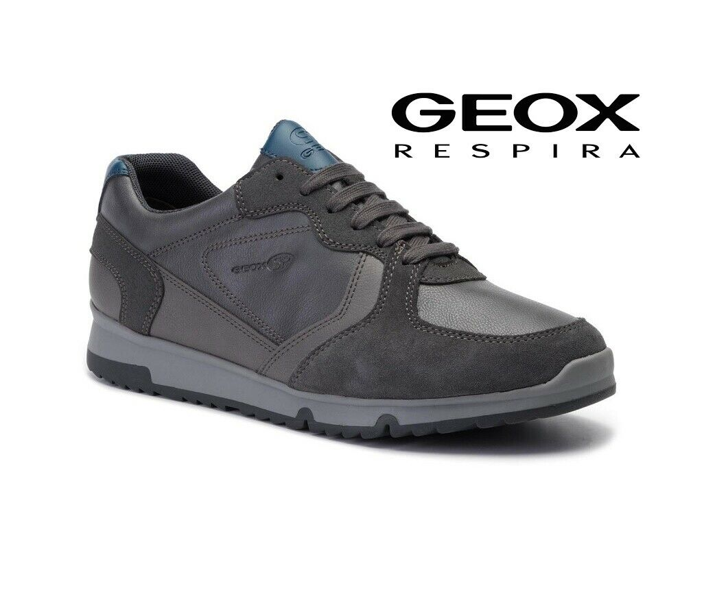 Schuhe Geox Turnschuhe Men Atmen Winter aus Leder und Gämse Casual Grau