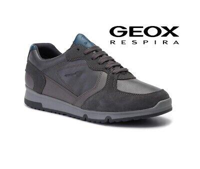 Dettagli su Scarpe Geox sneakers da uomo respira invernali in pelle e camoscio casual grigie