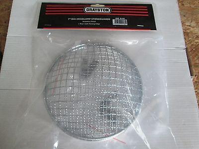 "Pair Stainless 7"" Headlamp Stone Guards MGA MGB MGC MG Midget Premium Made UK"