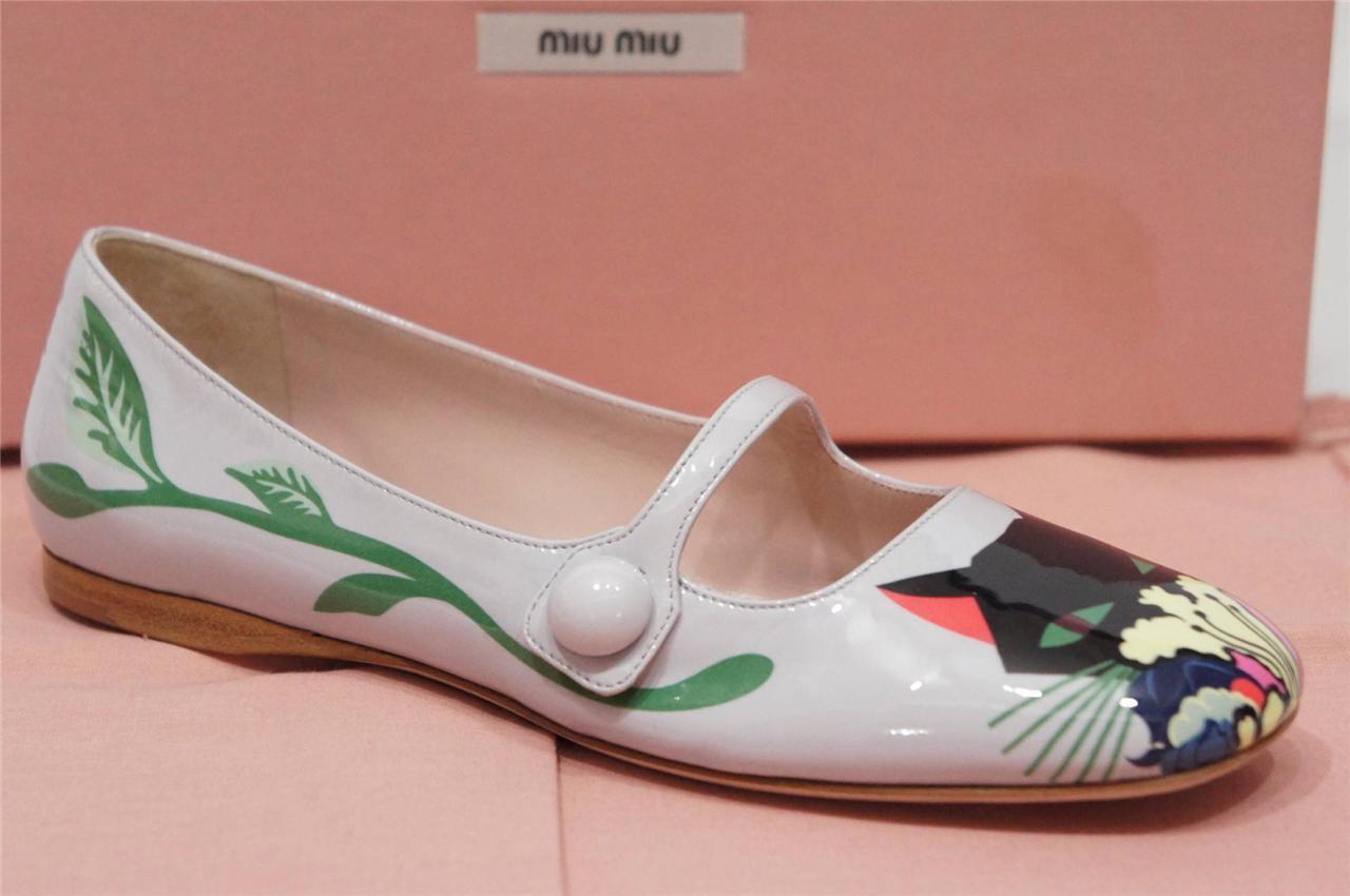 MIU MIU CAT-PRINT MARY JANE PATENT LEATHER BALLET FLATS SHOES 36.5 6.5  750
