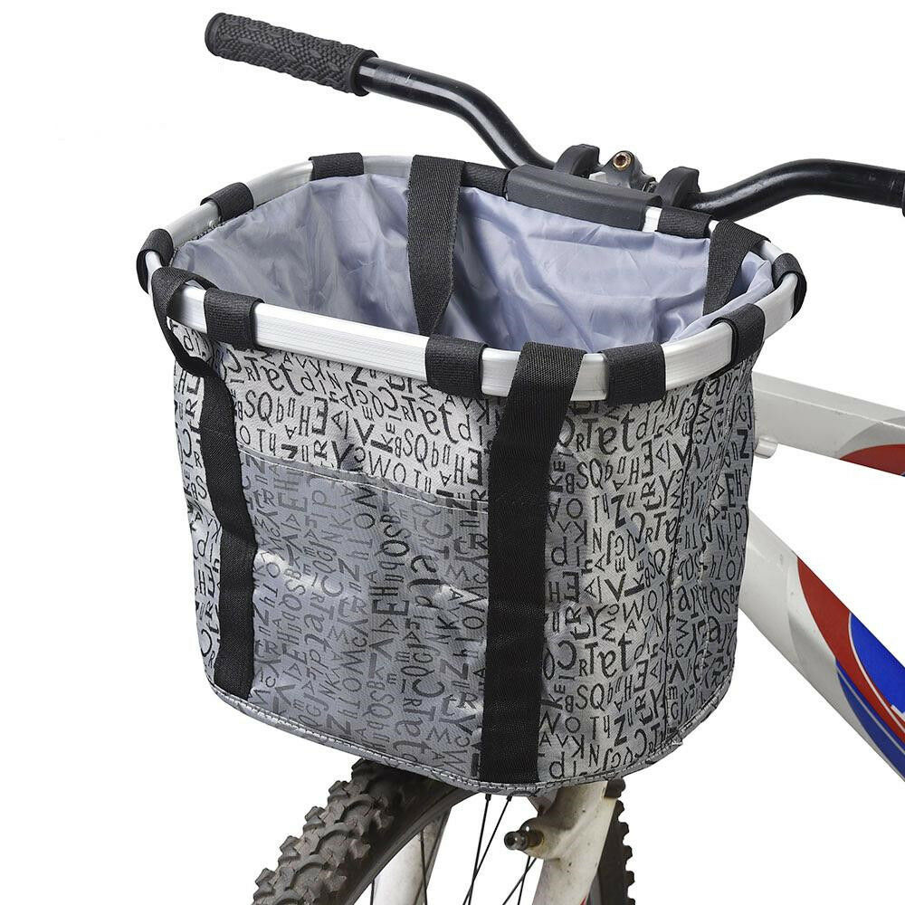 Outonda Collapsible Bike Basket Folding Easy Install Quick Released Picnic Shopping Bag Removable Cycling Bag Multi-Purpose Detachable Bicycle Handlebar Basket for Pet Cat Dog Carrier
