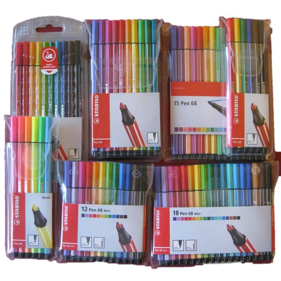 STABILO Premium Filzstift Pen68 ARTY 30er Pack mit 30 Farben Fasermaler Malstift