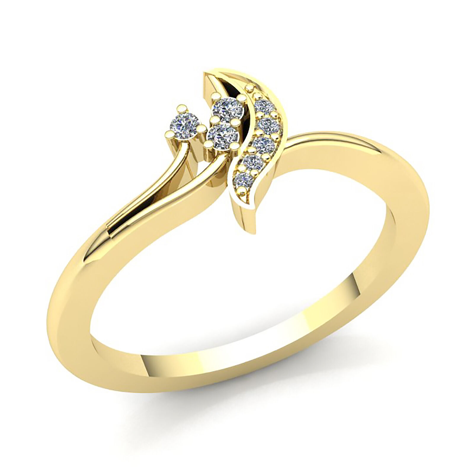 Natural 0.75ct Round Cut Diamond Ladies 3Stone Fancy Right Hand Ring 18K gold