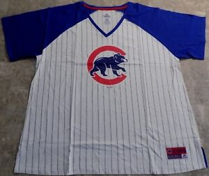 buy online 7f69f 0ae02 Details about Chicago Cubs V-Neck Ladies Jersey 1XL Pinstripes Logo Fan  Fashion Sexy Women MLB