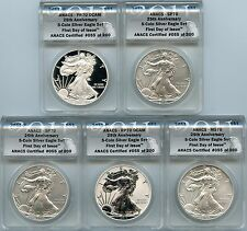 2011 Silver American Eagle 5 Coin Set First Day of Issue 25th Anniversary ANACS