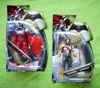 2 Batman V Superman Action Figures: Aquaman & Energy Shield. Dc, Mattel, New!