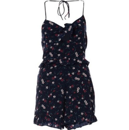 Playsuit Daisy Print Black Red In Floral Ditsy zxqpw5w