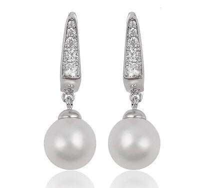 Perlen Ohrringe Ohrhänger Zirkonia silber 750er Weißgold 18 K vergoldet UVP 36€