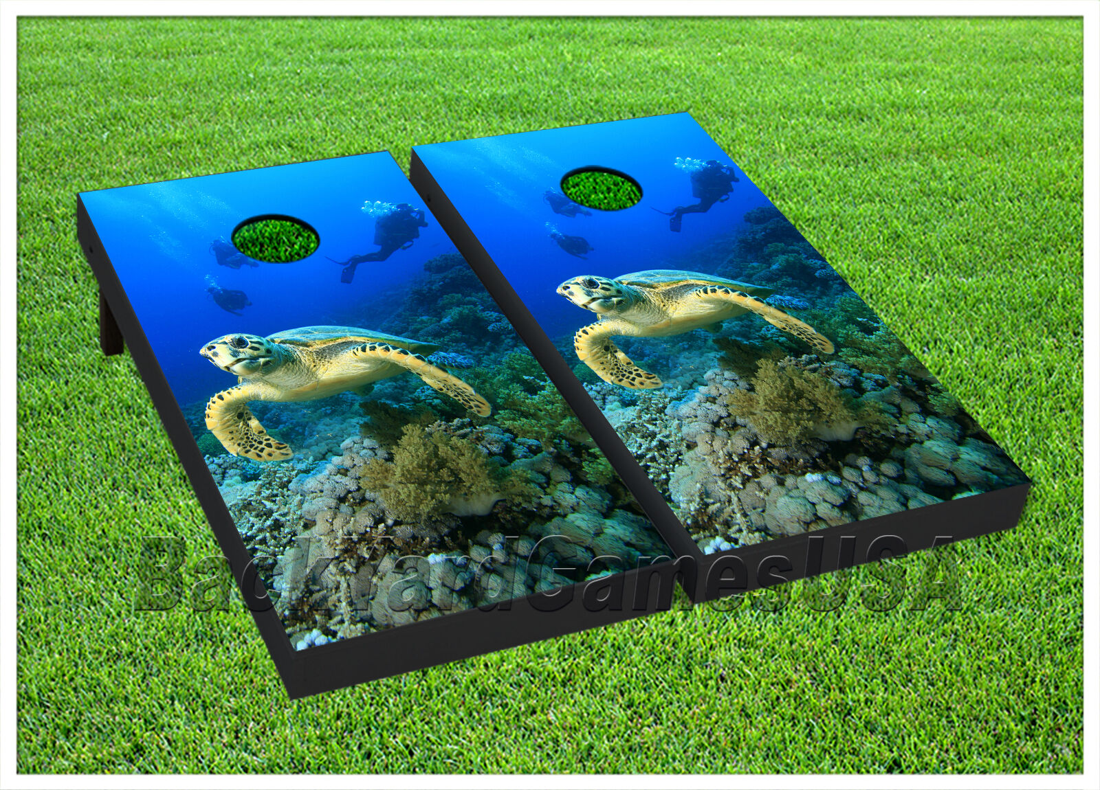 CORNHOLE BOARD  Set BEANBAG TOSS GAME w Bags Ocean Sea Turtle Reef Coral S01436  sale online save 70%