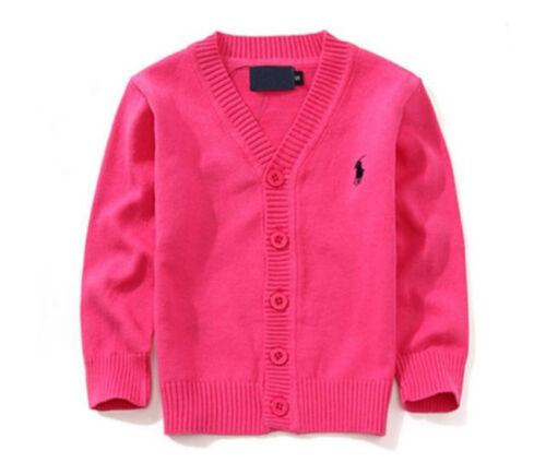 100/% Cotton kids Cardigan Boys Girls Children/'s Knit Cardigan 7 colors 1-5 Y