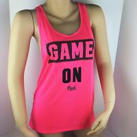Victoria Secret Pink Authentic Hot Pink Game On Racerback Tank Top Size S/p