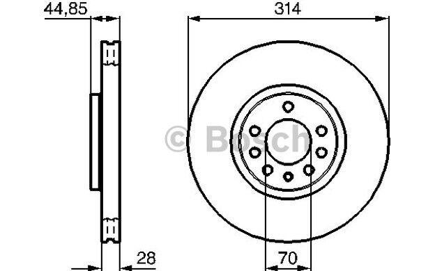 BOSCH Disco de freno (x2) Antes 314mm ventilado OPEL VECTRA 0 986 479 143