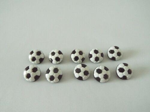 10 X Lindo Bebé En Forma De Fútbol Blanco Y Negro Botones de vástago de plástico novedad G63