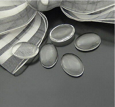 30PCS Oval 18x13mm Clear Transparent Domed Magnifying Glass Cabochon Cover 22640