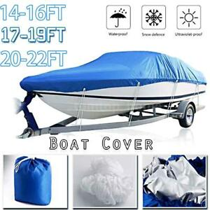 Silver Waterproof Trailerable Fish Ski Boat Cover 210D fits V-hull Tri-hull J2M3