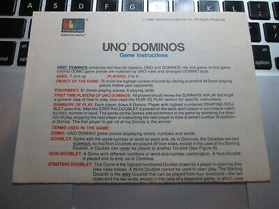 Rules for UNO Dominos Instructions International Games ...