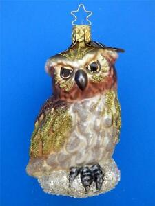 INGE GLAS FOREST OWL EXCLUSIVE GERMAN GLASS CHRISTMAS ORNAMENT REAL FEATHER
