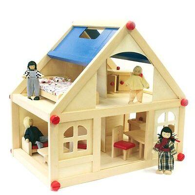 Puppenhaus aus Holz mit Mobiliar und vier Puppen ähnlich Waldorf Stil