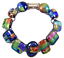 DICHROIC-Link-Bracelet-Blue-Orange-Green-Gold-Rainbow-Patterned-Fused-Glass-1-2-034 thumbnail 1