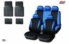 BLUE CAR SEAT COVERS & RUBBER CAR MATS SET FOR FORD FIESTA FOCUS MONDEO CONNECT