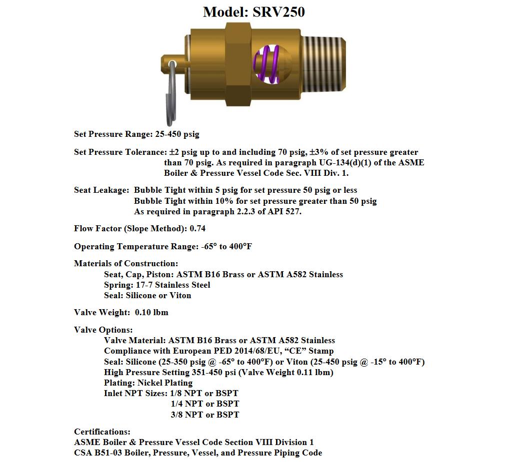 """TANK COMPRESSOR 1//4/"""" NPT 375 PSI BRASS SAFETY RELIEF POP OFF PRESSURE VALVE"""