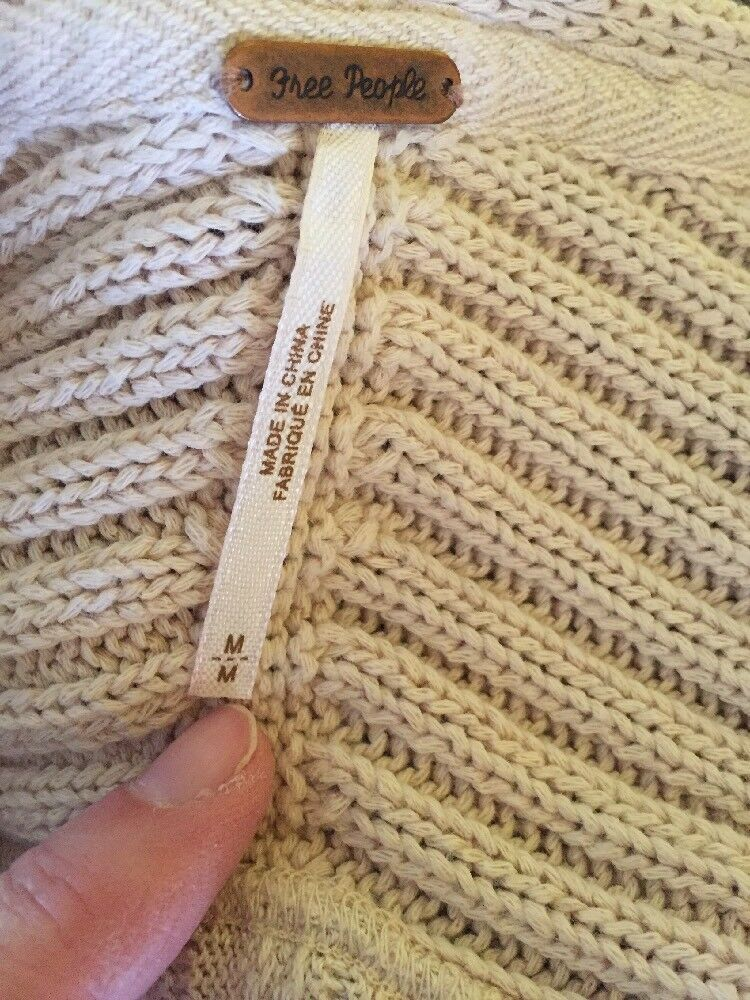 Free Free Free People Ribs & Ruffles' Knit ivory  Sweater Medium 2ddcdc