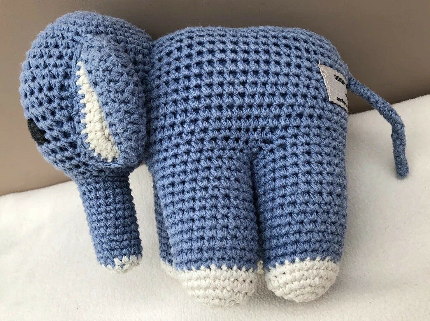 Anne Claire Petit Crochet bluee Elephant Comforter Soft Cuddly Toy Baby Soother