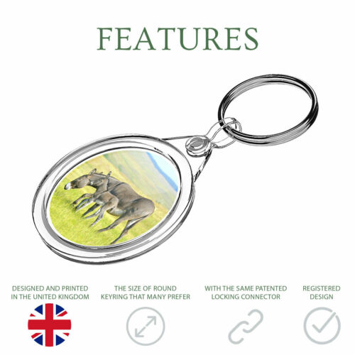 1 x Mother Baby Donkey Foal Keyring IR02 Mum Dad Kids Birthday Gift #15596