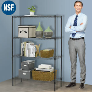 Wire-Shelving-36-034-x14-034-x54-034-4-Tier-Layer-Shelf-Adjustable-Steel-Metal-Rack-Black