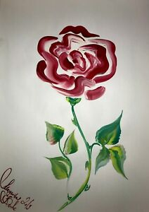 ORIGINAL-Malerei-A3-PAINTING-contemporary-art-blumen-flower-abstrakt-kunst-rose