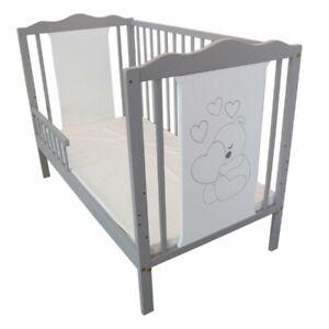 Gitterbett-Babybett-Kinderbett-Monika-60x120-umbaubar-Juniorbett-weiss-grau-2in1