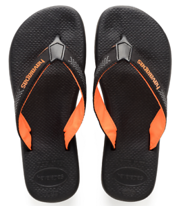 c455330a13646 Details about Havaianas Men`s Brazilian Flip Flops Surf Pro Sandals Steel  Black   Orange NWT