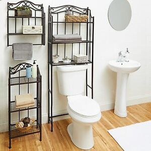 bathroom wall storage shelf organizer holder towel over toilet home rh ebay co uk Storage Cubes Lowe's Bathroom Cabinets Over Toilet