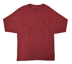 7389c8b9 Details about Polo Ralph Lauren Boys Heather Red Pony Long Sleeve T-Shirt  Medium 10-12 9175-3
