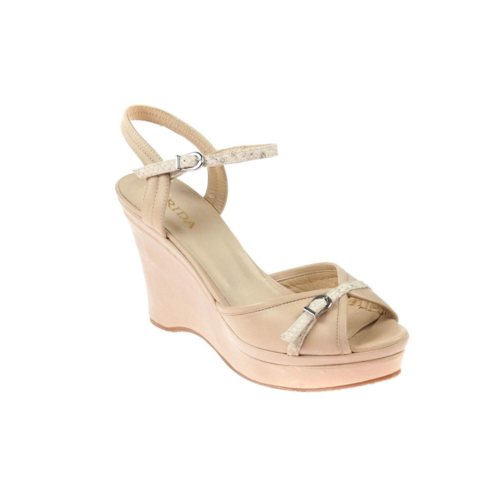 ordinare on-line Frida Donna Donna Donna zeppa sandali zeppe in pelle beige  all'ingrosso a buon mercato