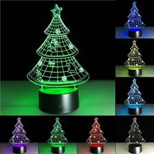 Christmas Tree LED Desk 3D Light Lamp Illusion Night 7 Color Change Table USB