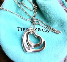 DOUBLE! Tiffany & Co. Elsa Peretti Open Heart Necklace in Sterling Silver 18""