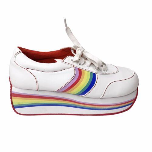 Delias x Dolls Kill Size 8 White Rainbow Platform