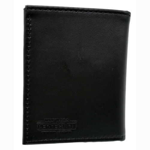 Military Challenge Coin Wallet Army Navy USAF USMC Veteran Bifold Leather Black