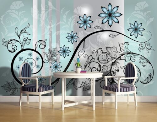 Grand mur murale papier peint pour chambre salon fleur bleu Décoration Ornements