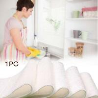 1x Bamboo Fiber Dish Wash Cloth Cleaning Towel Non-stick Oil Dish Cloth White GG