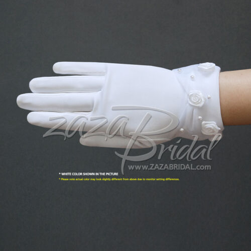 Dull matte satin girl/'s gloves w// faux pearl /& rose accents sheer organza cuff