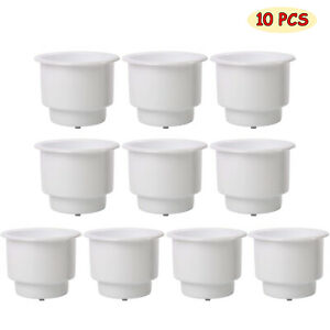 White, 8 Pack Set of 8 White Recessed Plastic Cup Drink Can Holder with Drain for Boat Truck Car and More DasMarine