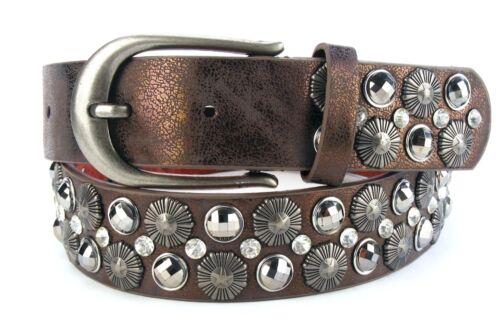 Designer Nietengürtel Discogürtel Strassgürtel Glitzer Damengürtel bronze #BO1