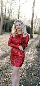 Sparkly Sequin Sherri Hill Red Long-Sleeve Homecoming Dress